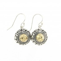 Samuel B. Sterling Silver/18K Round Hammered Gold Earrings