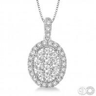 14k White Gold oval shape lovebright cluster pendant .75ctw