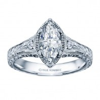 Rm1316m-14k White Gold Vintage Engagement Ring