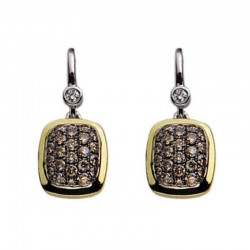 Sterling Silver & 18KY Diamond Pave Earrings