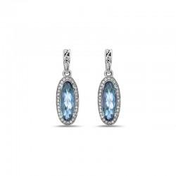 Sterling Silver Blue Topaz & Diamond Dangle Earrings