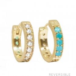 Gemma 15mm Brilliant Diamond & Turquoise 18KY Huggies