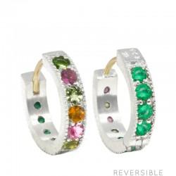 Gemma 15mm Multi Tourmaline & Emerald Silver Huggies