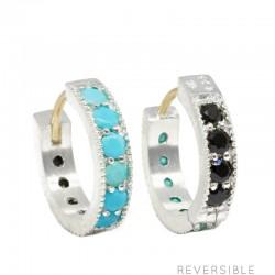 Gemma 15mm Turquoise & Black Spinel Silver Huggies