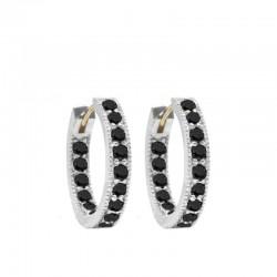 Gemma 20mm Black Spinel Silver Hoop Earrings