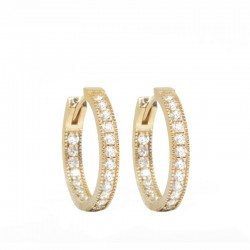 Gemma 20mm Brilliant Diamond 18KY Hoop Earrings
