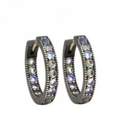 Gemma 20mm Moonstone Silver Hoop Earrings