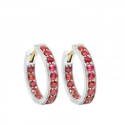 Gemma 20mm Ruby Silver Hoop Earrings