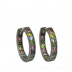 Gemma 20mm Multi Tourmaline Silver Hoop Earrings