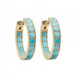 Gemma 20mm Turquoise 18KY Hoop Earrings
