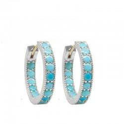 Gemma 20mm Turquoise Silver Hoop Earrings
