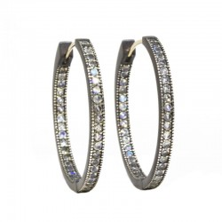 Gemma 30mm Moonstone Silver Hoop Earrings