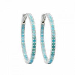 Gemma 40mm Turquoise Silver Hoop Earrings