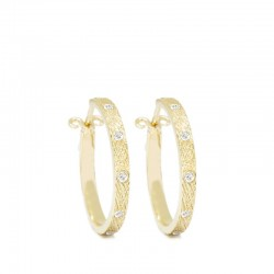 Florentine 20mm Diamond 18KY Hoop Earrings