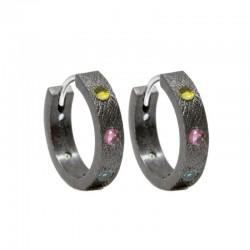 Florentine 15mm Multi Tourmaline Silver Hoop Earrings