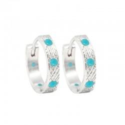 Florentine 15mm Turquoise Silver Hoop Earrings