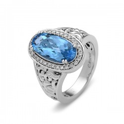 Eve Collection Sterling Silver Blue Topaz and Diamond Ring