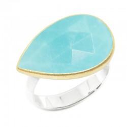 Lotus Medium Turquoise Silver Ring