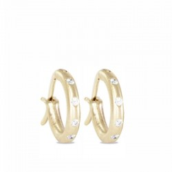 Diamond 18KY 13mm Hoop Earrings