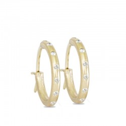 Diamond 18KY 18mm Hoop Earrings
