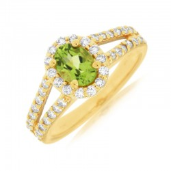 14KY Peridot & Diamond Ring