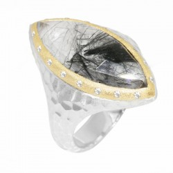 Heritage Marquise Black Tourmalated Quartz Silver Ring