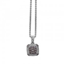 Sterling Silver Pave Pendant Containing 24 Round Diamond=.12Ctw And 28 Rd Brown Diamond=.39Ctw