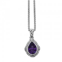 Ellah Collection  Sterling Silver Pendant With 10X7Mm Pear Shape Amethyst And 28 Round Diamonds= .16Ctw (K-L, I1)