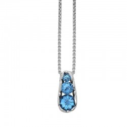 Dylani Collection  Sterling Silver Pendant Containing 3 Round SwiSterling Silver Blue Topaz 4Mm,6Mm,8Mm