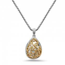 Sterling & 18Ky Pear Ivy Lace Pendant