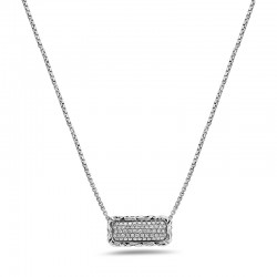 Sterling Silver Diamond Pave Bar Pendant