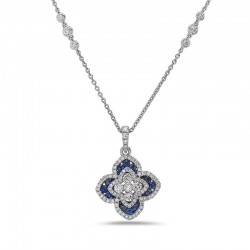 18Kw Sapphire And Diamond Pendant Containing 90 Rd Diam=.96Ctw  Ghi/Si2 And 20 Rd Blue Sapphire=.54Ctw  On 17