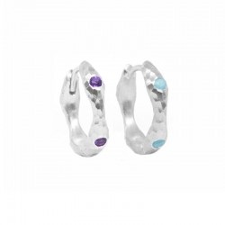 Forged 16mm Amethyst & Turquoise Silver Huggies