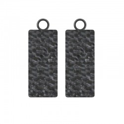 Forged Rectangular 30mm Silver Earring Charms (Charms only)