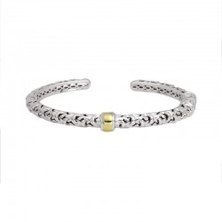 Sterling Silver Bangle Braclet With 18Ky Gold Center Bar