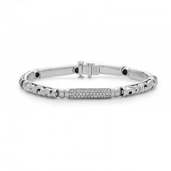 Sterling Silver Diamond Pave Bar Bracelet