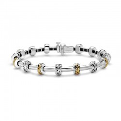 Sterling Silver & 18Ky Tube Bracelet