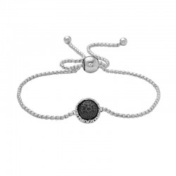Sterling Silver Bolo Bracelet Containing Black Sapphires