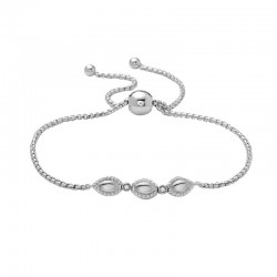 Sterling Silver & 18Kp Firefly Bolo Bracelet With 2 Round=.04Ctw