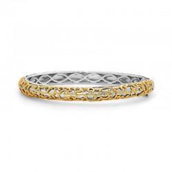Sterling Silver,14Kw,18Ky Ivy Lace Bangle Bracelet