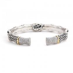 Samuel B. Sterling Silver/18KY Weave Design Bangle with Diamonds