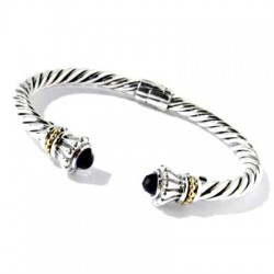Samuel B. Sterling Silver/18K Cable Twisted Onyx Bangle