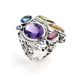 Samuel B. Sterling Silver Multi-Shape Multi-Gem Ring