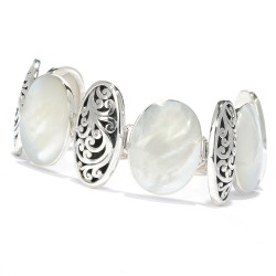 Samuel B. Sterling Silver Mother Of Pearl Oval Link Bracelet