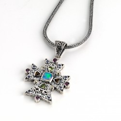 Samuel B. Sterling Silver/18K Multi Gemstone CroSterling Silver Pendant