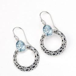 Samuel B. Sterling Silver Circle Dangling Earrings w/Blue Topaz