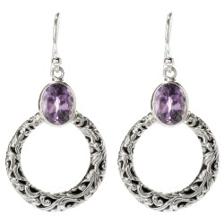 Samuel B. Sterling Silver  Circle Amethyst Dangle Earring