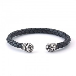 Samuel B. Sterling Silver Woven Design End Caps on Woven Black Leather Bangle