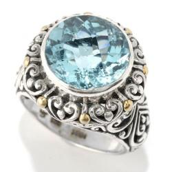 Samuel B. Sterling Silver/18KY Round Blue Topaz Ring
