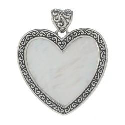 Samuel B. Sterling Silver Heart MoP Bali Design Pendant